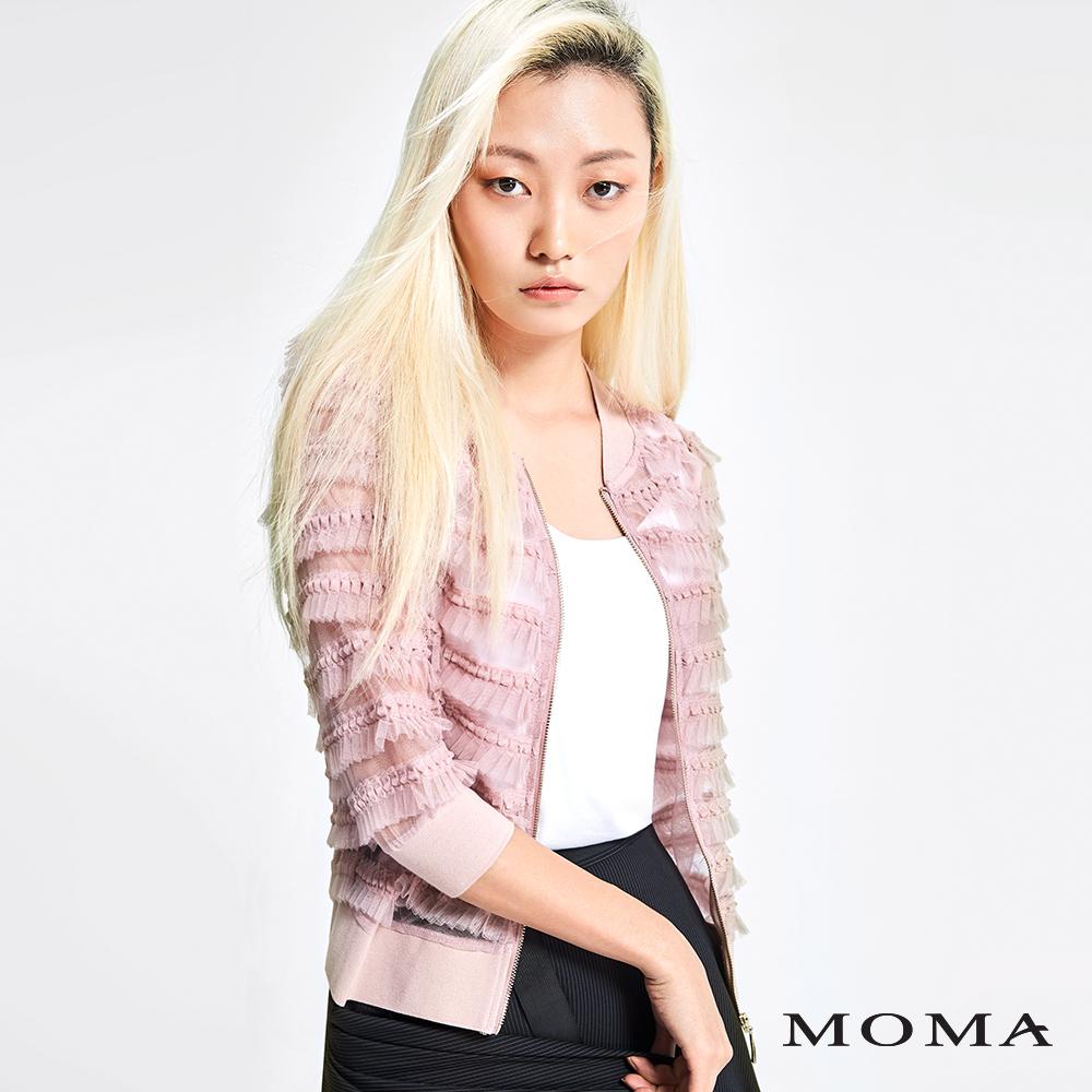 MOMA 車褶網紗拉鍊外套