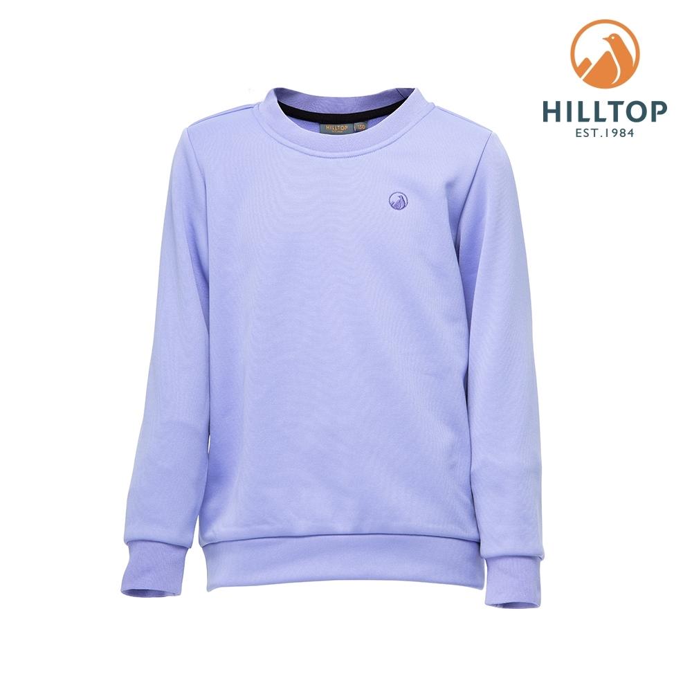 【hilltop山頂鳥】童款POLYGIENE抗菌保暖圓領刷毛上衣H51C92長春花紫