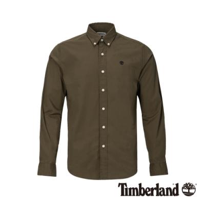 Timberland 男款軍綠色輕質彈性修身長袖襯衫|A1LSN
