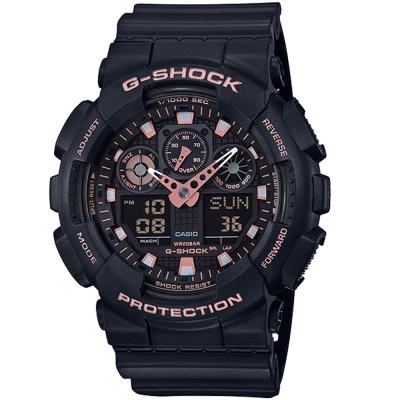 G-SHOCK街頭時尚配件玫瑰金點綴主題設計休閒錶(GA-100GBX-1A4)51mm