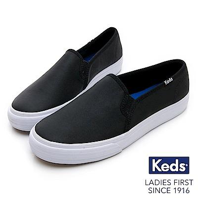 Keds 經典皮革舒適休閒便鞋-黑
