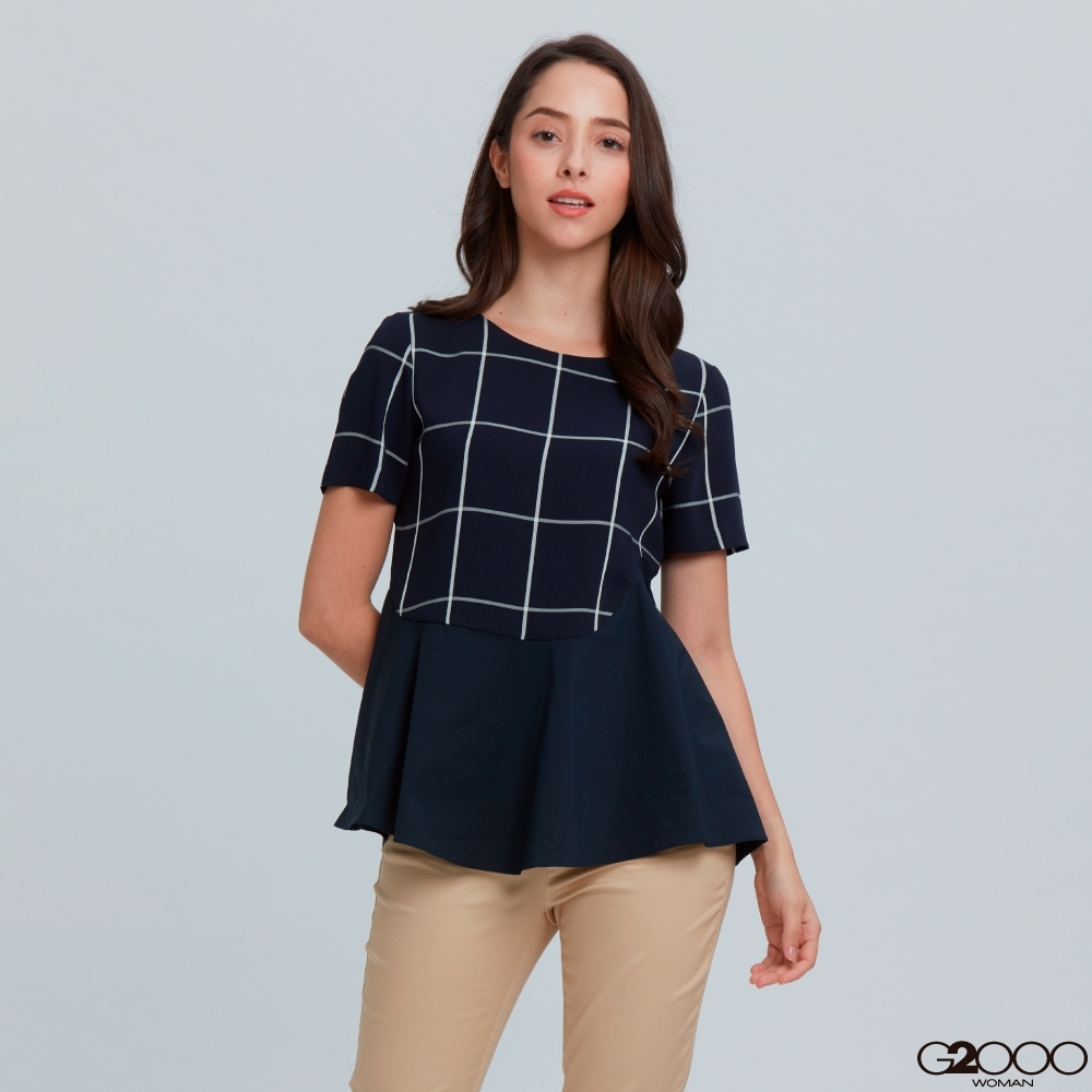 G2000格紋短袖休閒上衣-深藍色