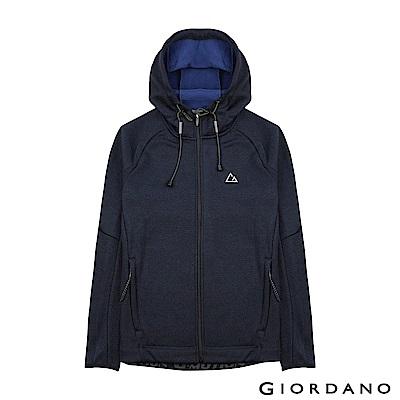 GIORDANO 男款G-MOTION反光LOGO搖粒絨連帽運動外套-04 藍/寶藍