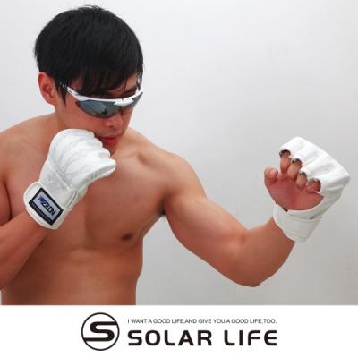 【索樂生活】半指搏擊格鬥拳擊訓練手套(拳擊手套 露指搏擊 沙包拳套 真皮拳套 自由搏擊)
