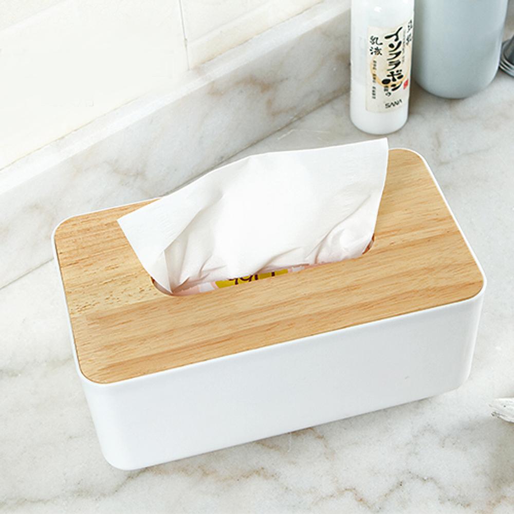 【團購2入】E.City_北歐風平口木蓋質感紙巾盒