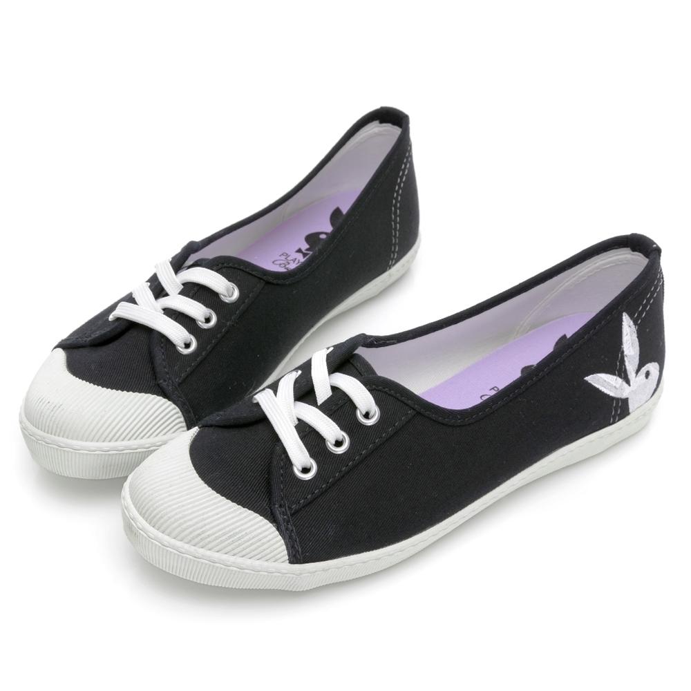 PLAYBOY 休閒時光 電繡兔兔綁帶懶人鞋-黑-Y7202CC