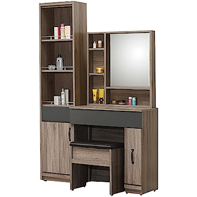 綠活居 馬布斯3.4尺化妝台組合(鏡台+側邊櫃+含椅)-103x42.5x177cm免組