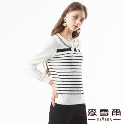 【麥雪爾】領口荷葉花邊緹花針織衫-白