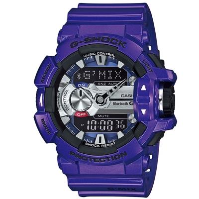 G-SHOCK MIX玩酷生活音樂控制藍芽錶(GBA-400-2A)-藍紫x銀時刻/51.9mm