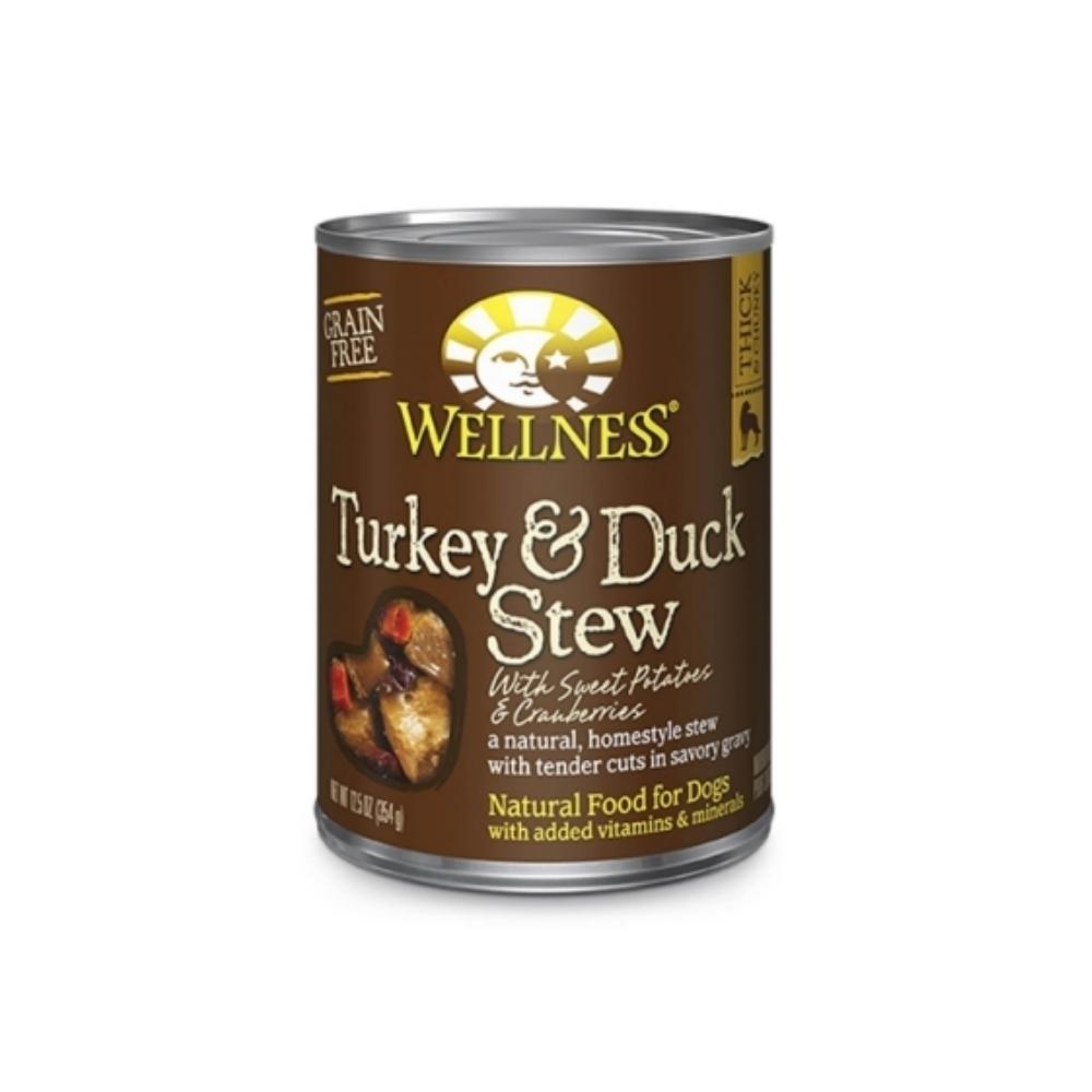 WELLNESS寵物健康-全方位主食狗罐(火雞肉和鴨肉燉蔓越莓和地瓜) 12.5OZ(354g)