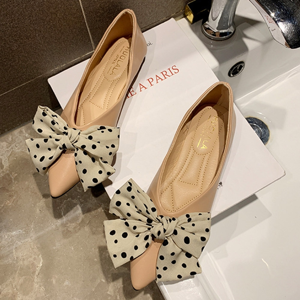 KEITH-WILL時尚鞋館 韓新品舒適蝴蝶結點點平底鞋-粉