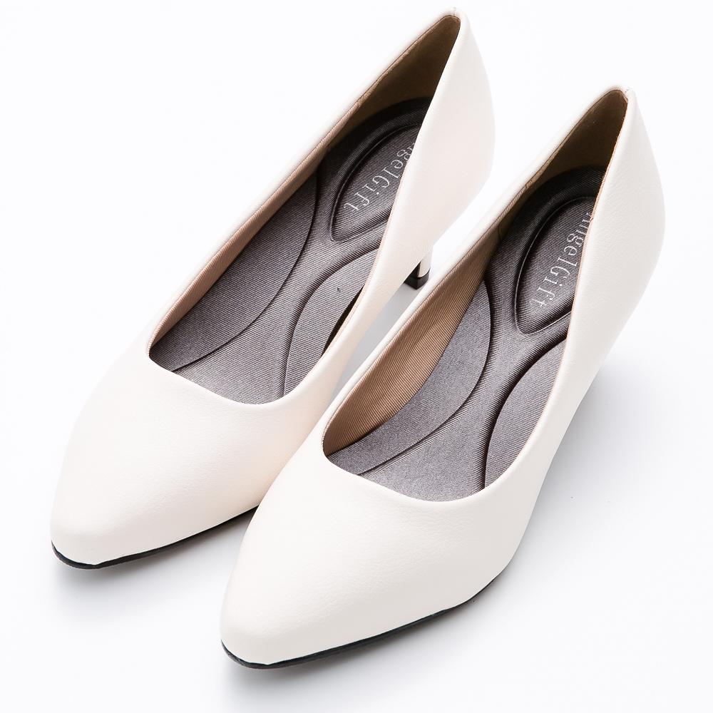 River&Moon百搭繽紛素面通勤記憶鞋墊尖頭跟鞋-米白