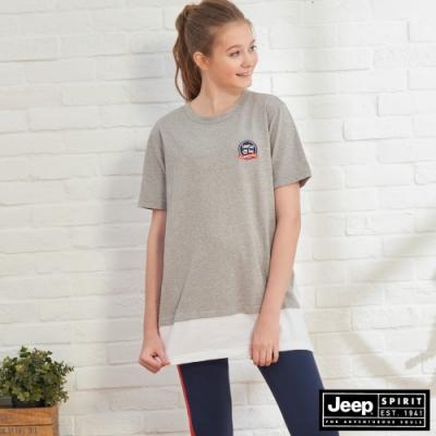 JEEP 女裝 假兩件長版短袖TEE-灰色