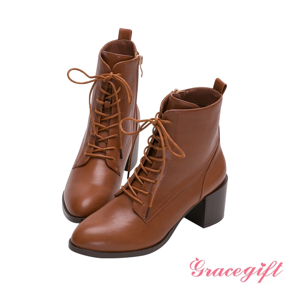 Grace gift-綁帶木紋中跟短靴 棕