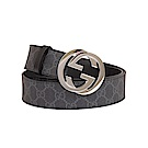 GUCCI Supreme 雙G金屬LOGO釦環皮帶(95cm 黑灰)