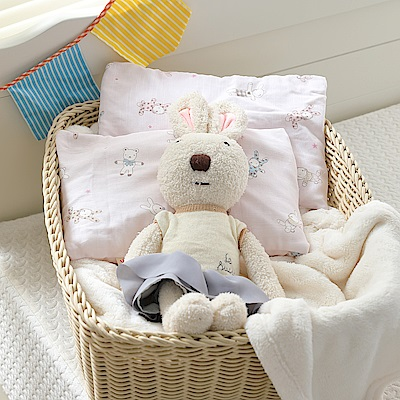 IN HOUSE-嬰兒麥管枕-粉紅兔兔