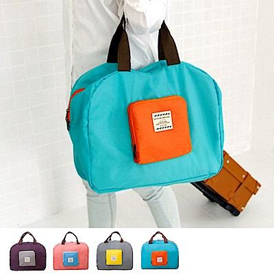 JIDA撞色款摺疊單肩收納袋購物袋4色