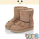 CONNIFE童鞋 保暖絨毛輕量高筒雪靴-棕