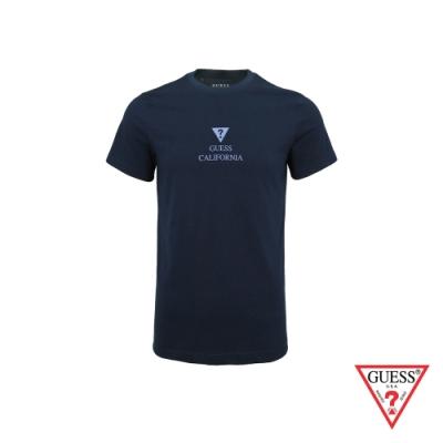 GUESS-男裝-簡約LOGO加州字母短T,T恤-藍