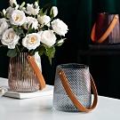【Meric Garden】現代北歐ins輕奢皮革手提玻璃花瓶/收納罐