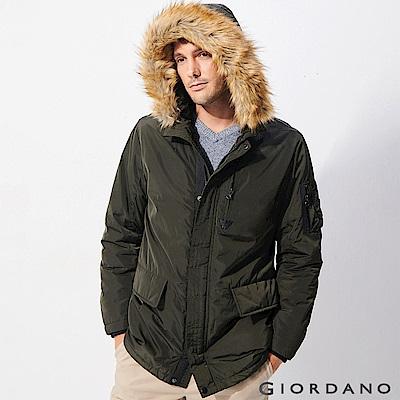 GIORDANO 男裝鋪棉收腰長版多口袋連帽外套-59 碳綠