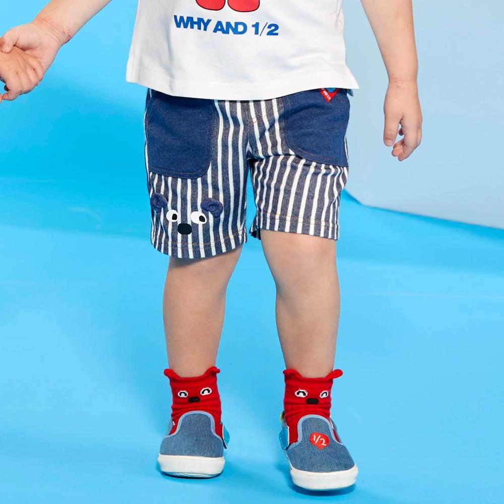 WHY AND 1/2 mini 條紋彈性棉質短褲 1Y ~ 4Y (深藍)