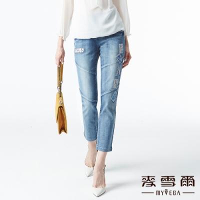 【麥雪爾】棉質撲克刺繡水鑽九分牛仔褲