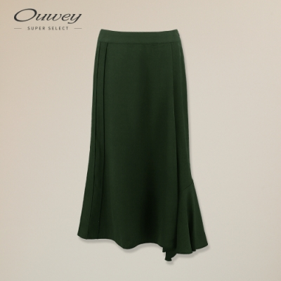 OUWEY歐薇 涼感素色萊賽爾斜邊褲裙(綠)