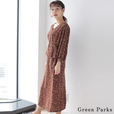 Green Parks 【SET ITEM】花卉V領襯衫+花卉長裙