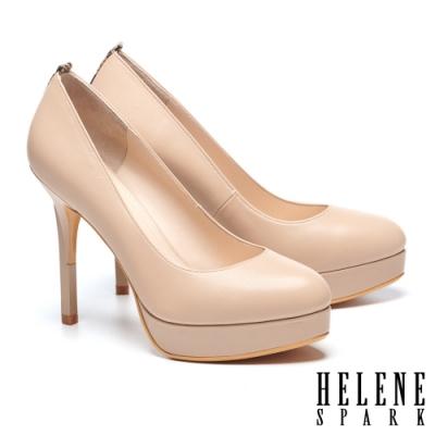 高跟鞋 HELENE SPARK 都市時尚蛇紋微尖頭羊皮美型高跟鞋-米