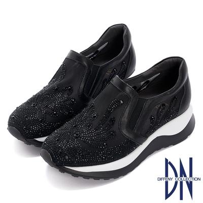 DN休閒鞋_閃耀鑽飾刺繡造型厚底休閒鞋-黑