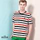 oillio歐洲貴族 男裝 短袖全棉超彈力超質感透氣T恤 條紋圖騰 舒適天然棉 白色 product thumbnail 1