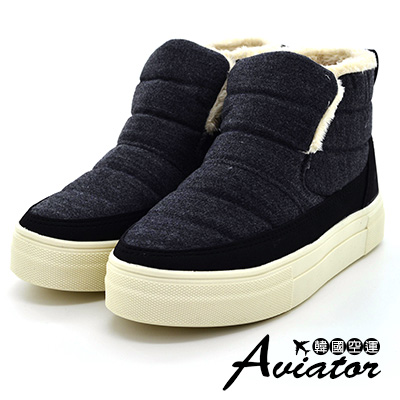 Aviator韓國空運-冬季限定立體滿版內鋪毛厚底雪靴-黑