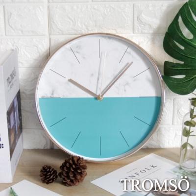 TROMSO 紐約時代玫瑰金靜音時鐘-大理石藍綠