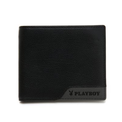 PLAYBOY- 中翻短夾 gray&black系列 -灰色