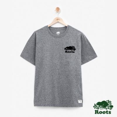 男裝Roots 左胸立體轉印短袖T恤-灰色
