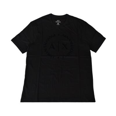 A│X Armani Exchange經典圓形字母LOGO棉質短T(XS/S/M/L/黑)