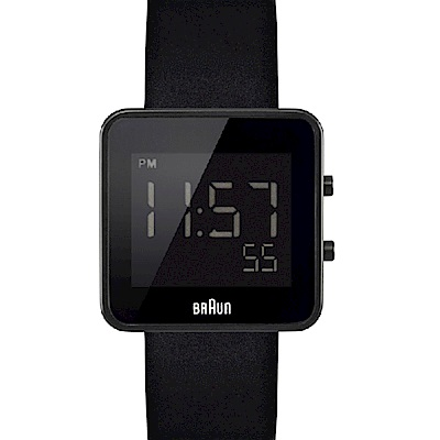 BRAUN德國百靈 簡約質感數位電子錶 -黑色/30mm