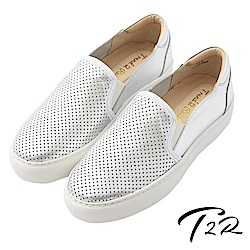 【T2R】真皮手工透氣舒適懶人鞋-銀
