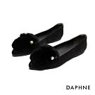 達芙妮DAPHNE 平底鞋-柔軟兔毛佐珍珠尖頭平底鞋-黑
