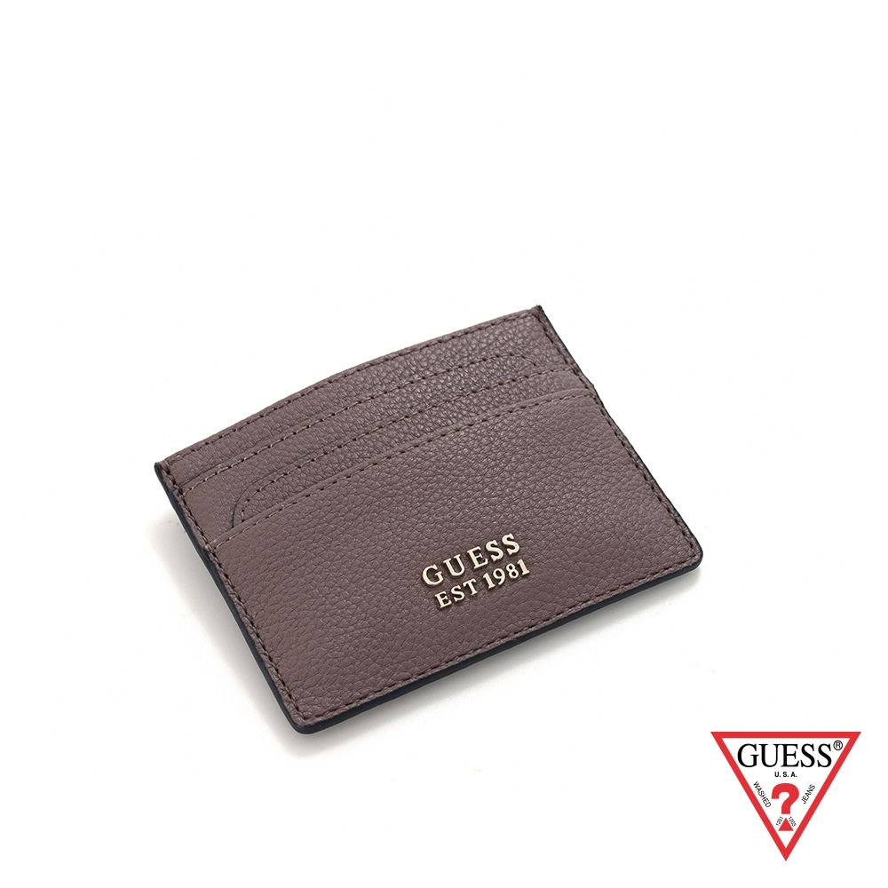 GUESS-女夾-簡約純色荔枝紋雙面卡夾-藕粉 原價790