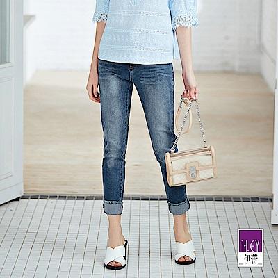 ILEY伊蕾 反摺剪裁彈性刷白牛仔褲(藍)