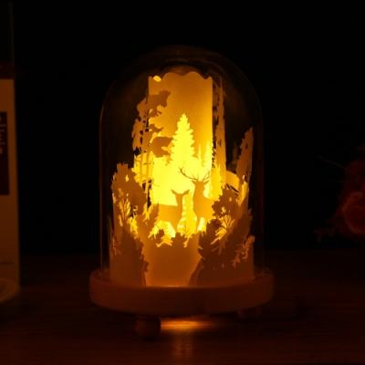 360度全景光影紙雕燈/剪紙DIY裝飾夜燈- 森林鹿款