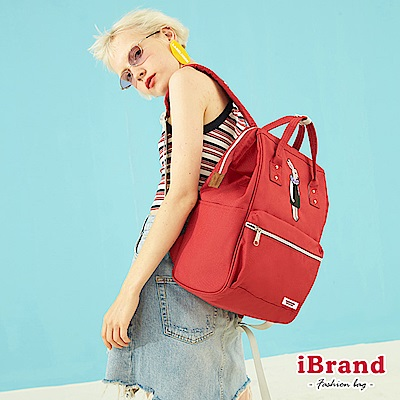 iBrand後背包 動物人漾彩大開口手提後背包-紅色
