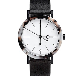 AÃRK 時尚貝殼紋真皮革腕錶 -白38mm