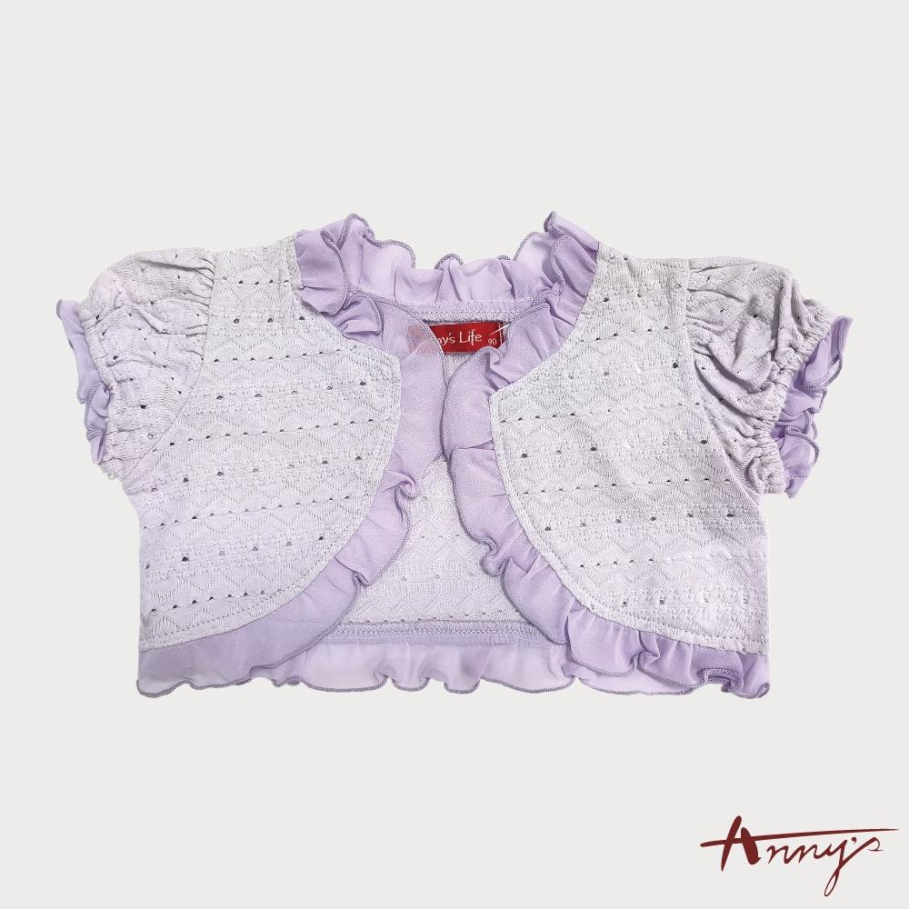 Annys安妮公主-甜美鏤空雪紡滾邊春夏款壓紋短袖小外套*3318紫色