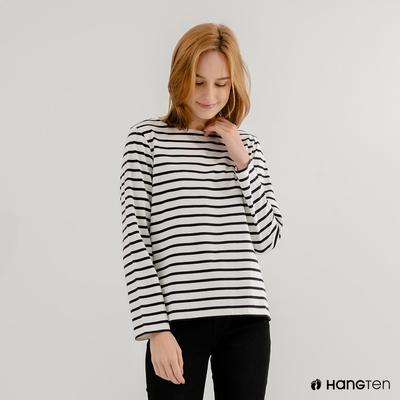 Hang Ten-女裝-ECO環保纖維配條長袖上衣-藍條紋