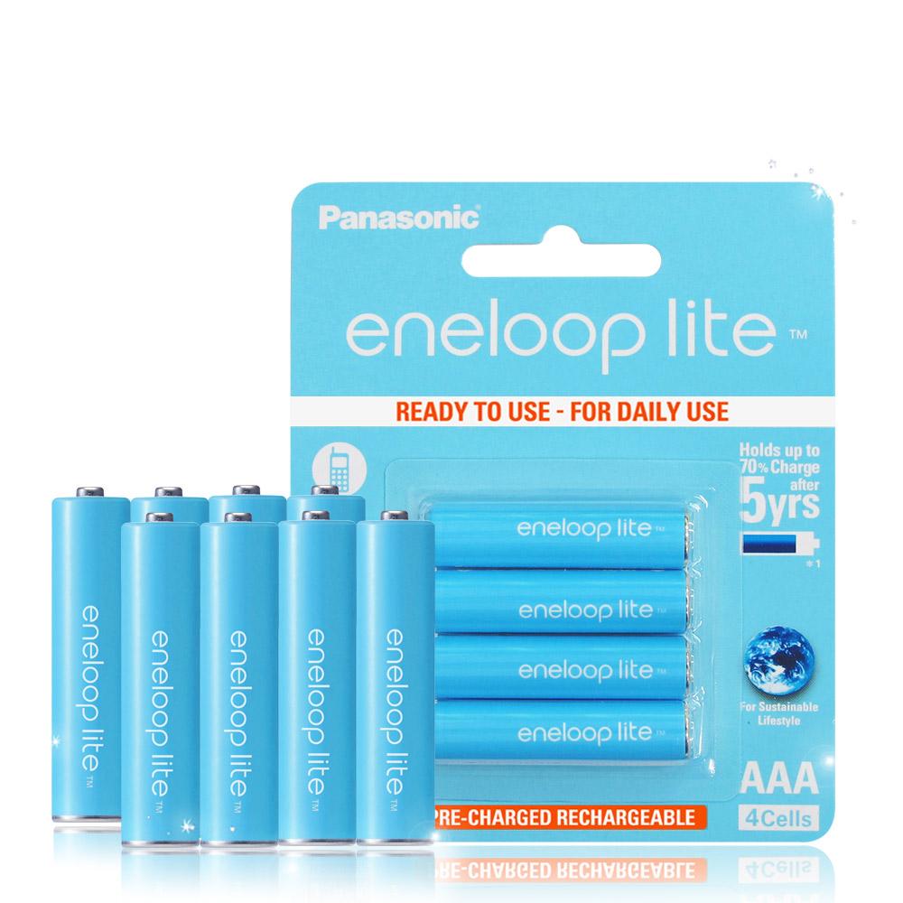 藍鑽輕量版 Panasonic eneloop lite 低自放4號充電電池(8顆入)