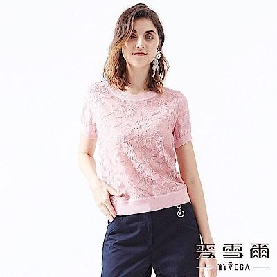 【麥雪爾】光采花朵蕾絲針織衫