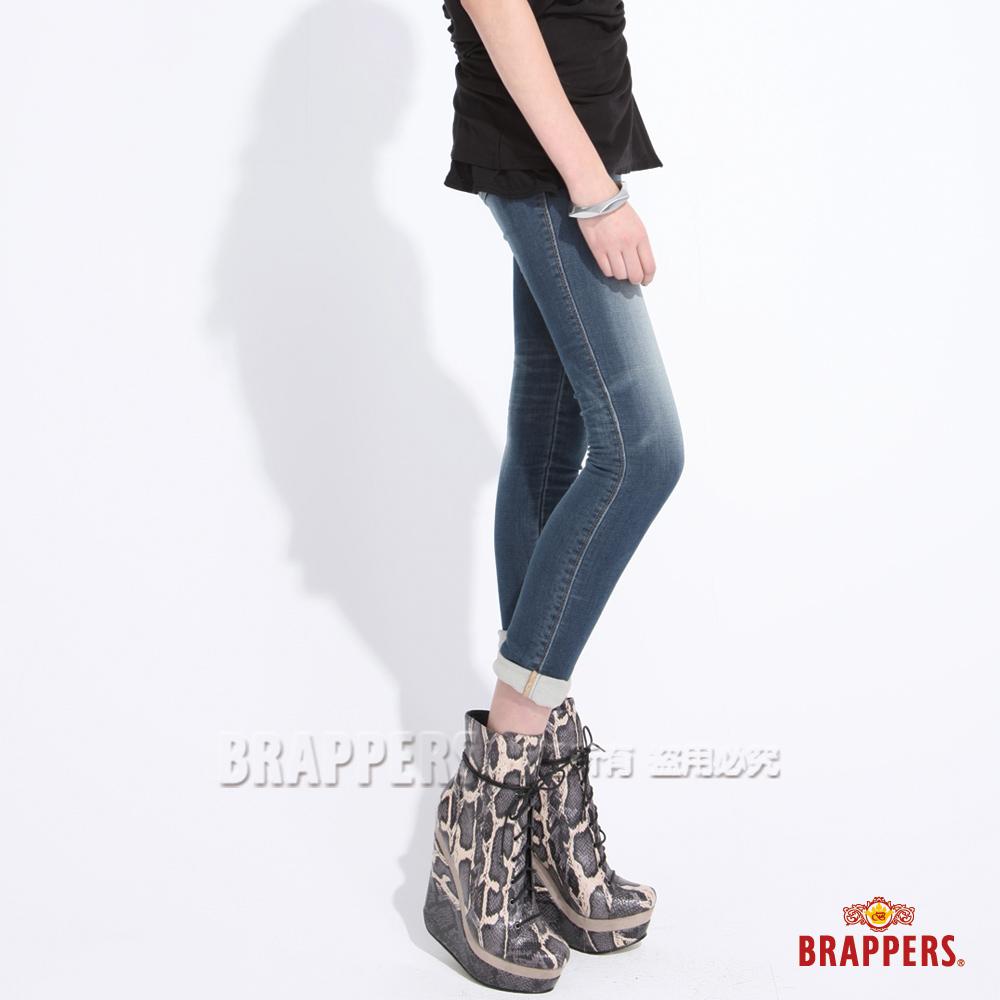 BRAPPERS 女款 新美尻Royal系列-彈性針織窄管褲-藍
